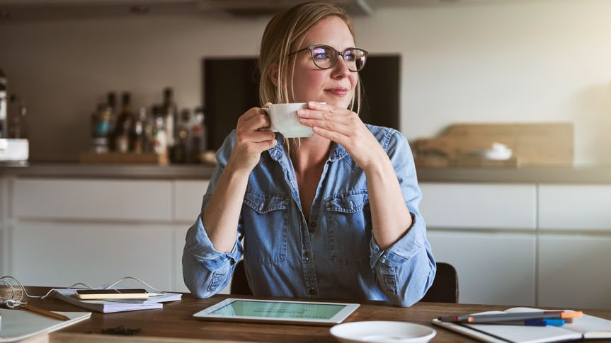 woman thinking about saving for retirement