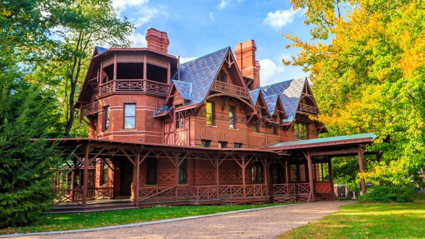 Hartford, CT- OCTOBER 15: The Mark Twain House and Museum on October 15, 2014.