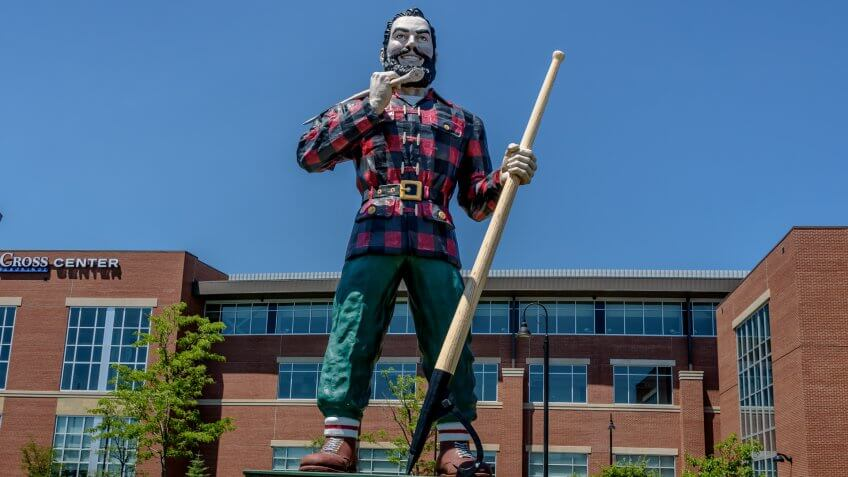 BANGOR, MAINE - July 4, 2018: Huge Paul Bunyan Statue.