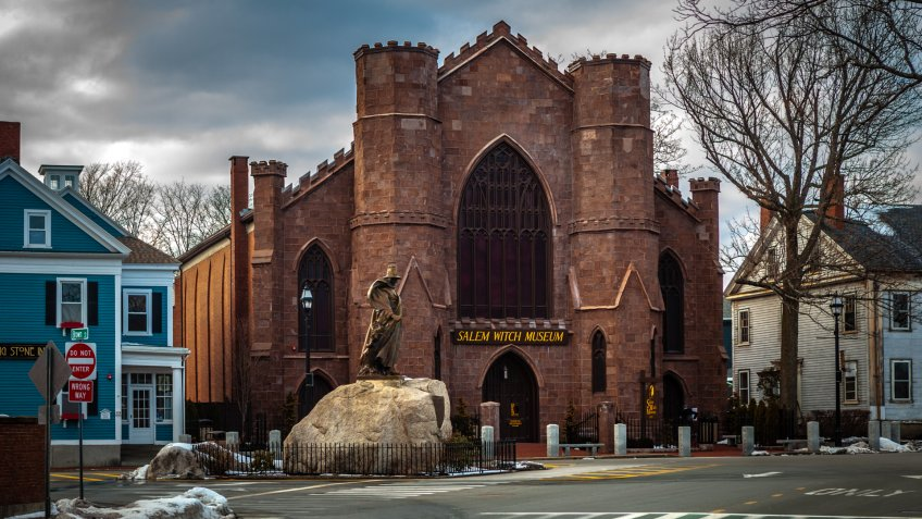 Salem, USA- March 03, 2019: Witch museum located in a Gothic styled, New England church type building.