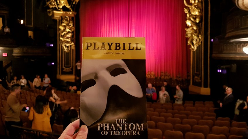 After the performance, Broadway of The Phantom of the opera on its 30th year anniversary, Time Square, New York, USA on September 30, 2018 - Image.
