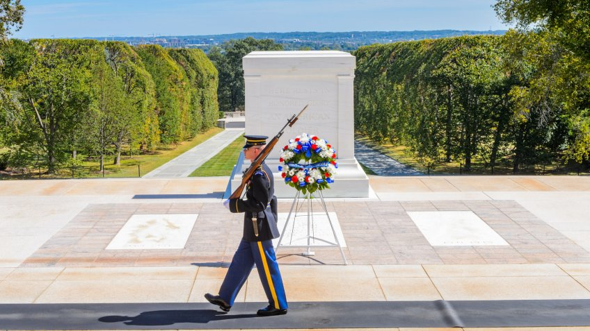 WASHINGTON DC, USA - SEP 24, 2015: Change of the guard near the Unknown Soldier tomb at the Arlington national cemetery.
