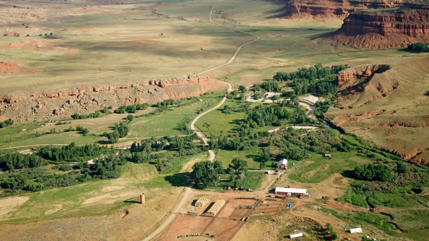 American West, Hole-In-The-Wall Ranch, Ranch, Wyoming, aerial