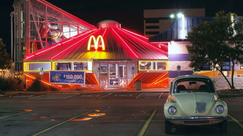 ROSWELL, NEW MEXICO - OCT 14: McDonald's Restaurant in Roswell, New Mexico as seen at night on October 14, 2008.