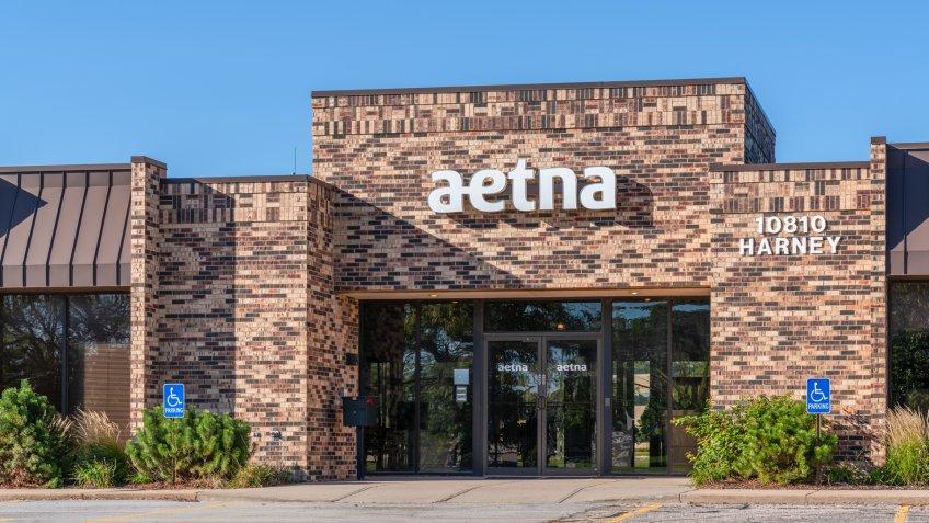 An Aetna office building at 10810 Harney Street in Omaha, Nebraska.