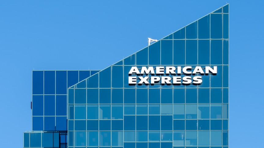 Toronto, Canada - October 29, 2018: Sign of American Express on the building at North York in Toronto.