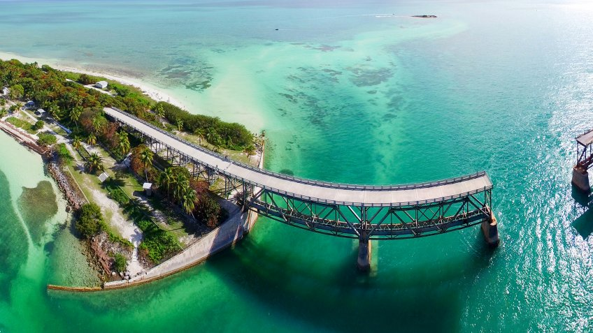 Bahia Honda Bridge panoramic aerial view on Overseas Highway - Florida.