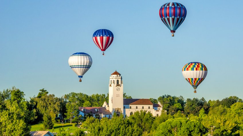 Unique view of hot air ballons around the Boise Train Depot - Image.