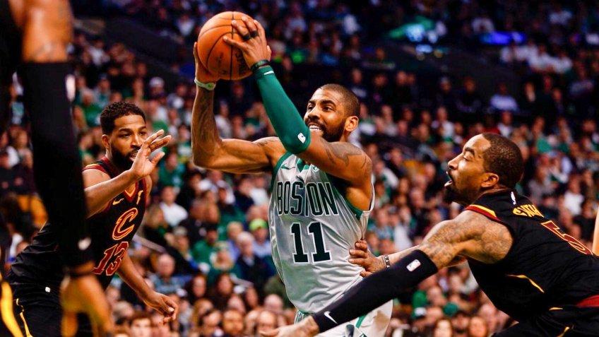 Boston Celtics guard Kyrie Irving defends Cleveland Cavaliers