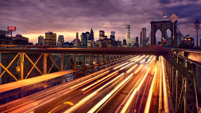Brooklyn Bridge traffic in Manhattan New York