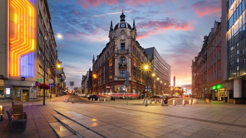 Central square of Katowice, Poland in dramatic sunset.