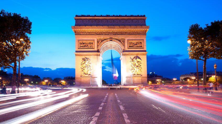 Champ Elysees Arc de Triomphe in Paris France
