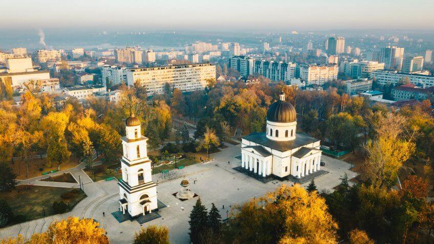 Above Chisinau at sunset.
