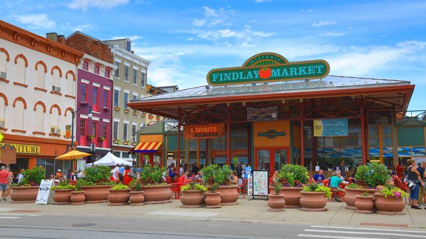 CINCINNATI, OHIO - JUNE 18, 2017: Findlay Market is a trendy farmer's marketplace in the historic Over the Rhine district in Cincinnati, Ohio.