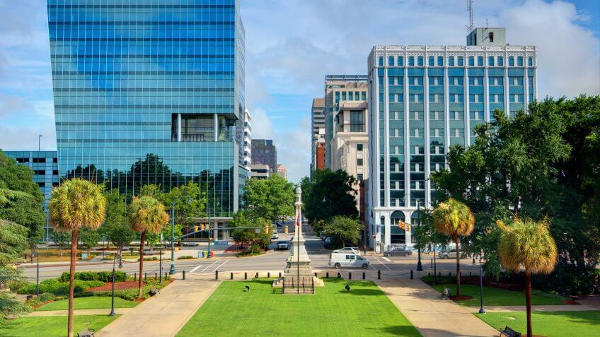 Skyline of downtown Columbia, South Carolina, USA.
