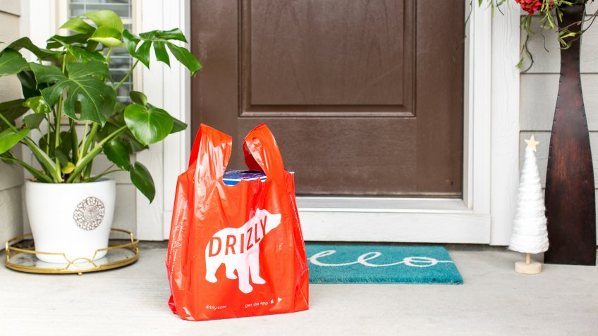 Drizly delivery at the door