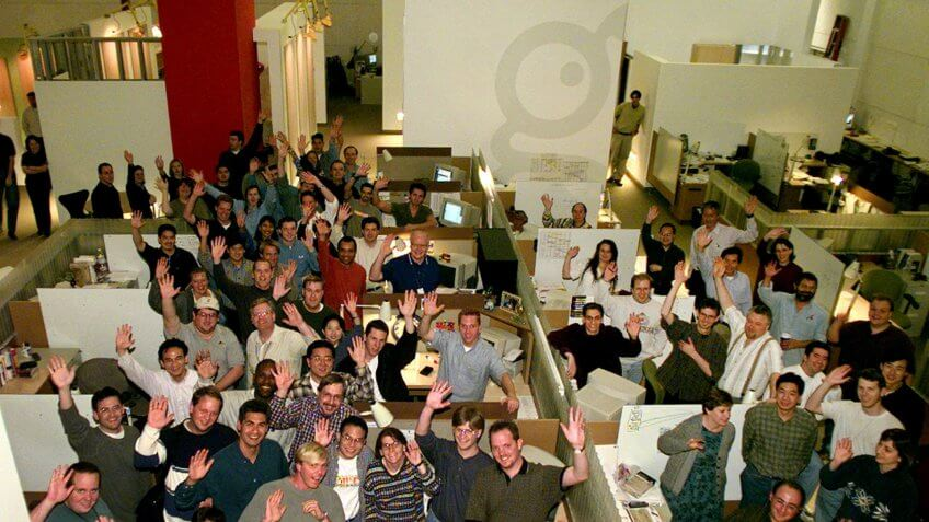 GeoCities employees pose for a picture in 1999