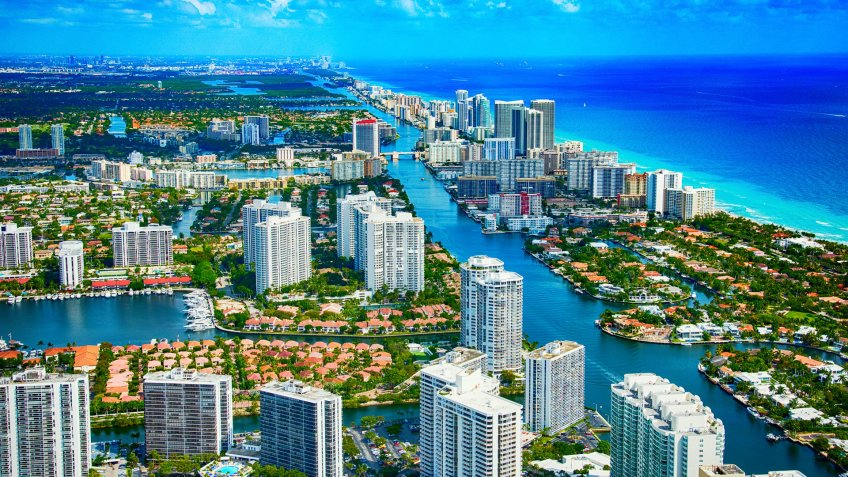 Aerial view of the city of Hallandale Beach located in Broward County Florida.