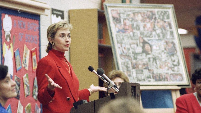 Hillary Clinton speaks to students at the Winthrop Rockefeller Elementary School in Little Rock, Arkansas