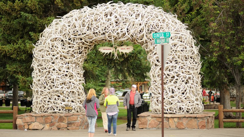 Jackson Hole, Wyoming, USA - June 26, 2014: Close up of Jackson Hole, Wyoming antler arch in in downtown Jackson Hole, Wyoming tourist square district.
