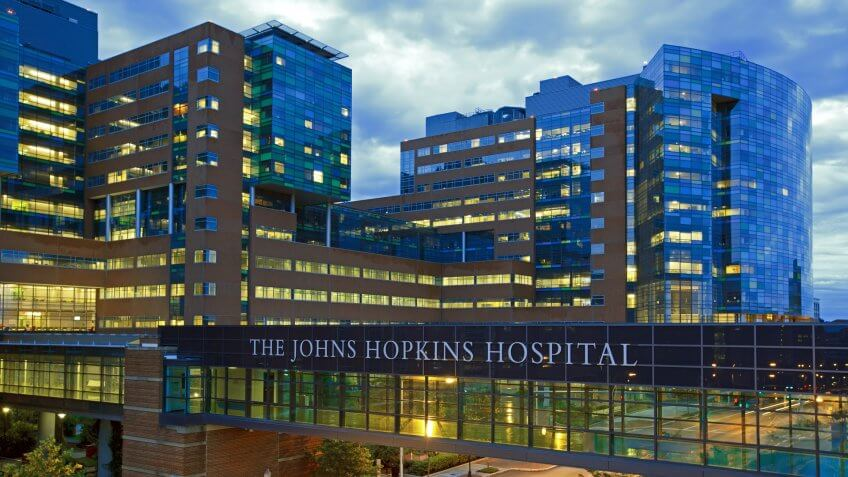 Baltimore, MD, USA - June 28, 2015: The Johns Hopkins Hospital at night from Orleans Street.