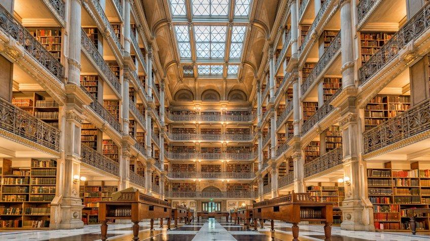 Johns Hopkins University George Peabody Library in Baltimore Maryland