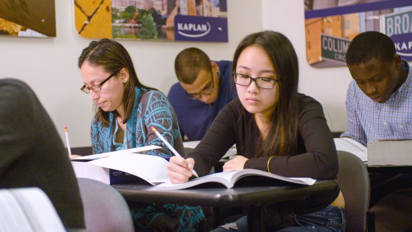 New York, New York - January 26, 2016: Students prep for the New SAT at a Kaplan Test Prep center.
