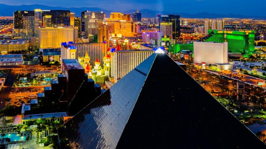 LAS VEGAS - AUGUST 13: An aerial view of Las Vegas Strip on August 13, 2012 in Las Vegas, Nevada.