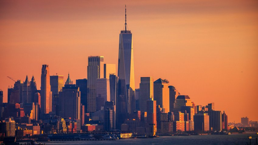 Manhattan sunset, New York, NY, USA.