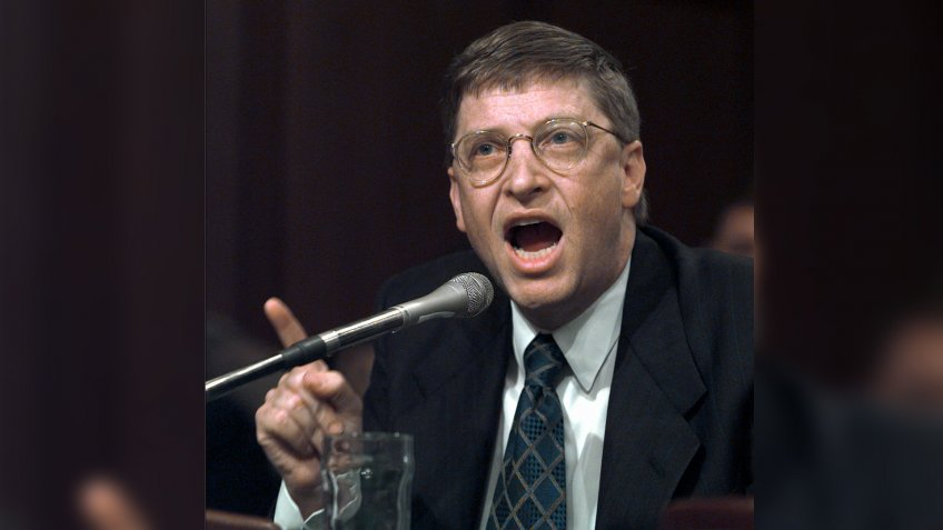 Microsoft Chairman Bill Gates testifies on Capitol Hill, before the Senate Judiciary Committee