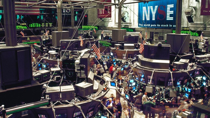 The New York Stock Exchange trading floor on Wall Street.