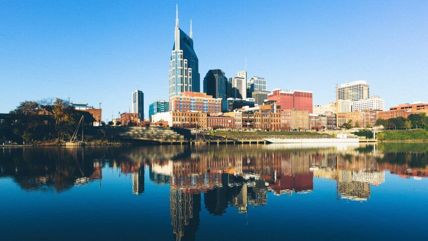 View of Downtown Nashville during a beautiful early morning.