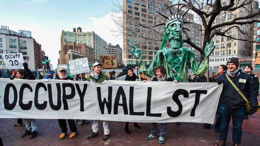 NEW YORK CITY, USA - DECEMBER 17 2011: Occupy Wall Street, protesting financial malfeasance, marked its 90 day anniversary with marches in Manhattan.