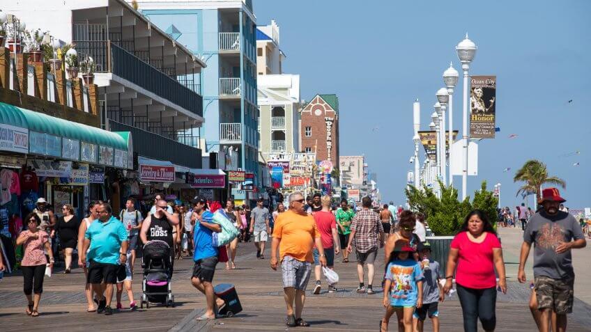 Ocean City Maryland oceanfront boardwalk