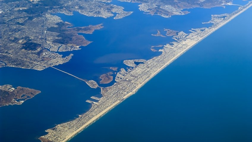 Aerial view of Ortley Beach and Seaside Heights in Ocean County New Jersey