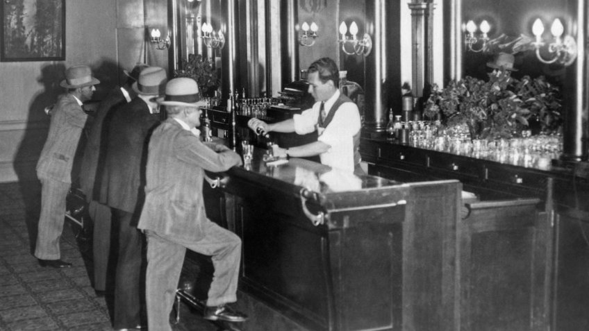 Patrons at a speakeasy in San Francisco in 1931