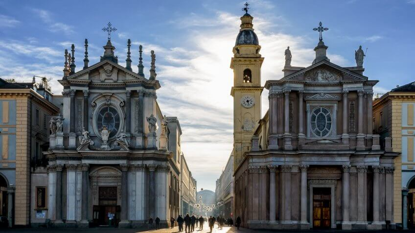 Piazza San Carlo, one of the main squares of Turin (Italy) with its twin churches.