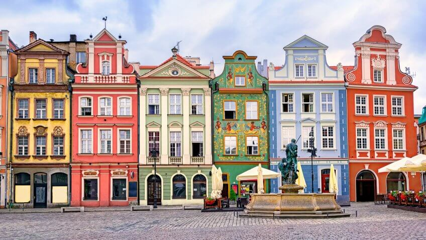 Colorful renaissance facades on the central market square in Poznan, Poland.