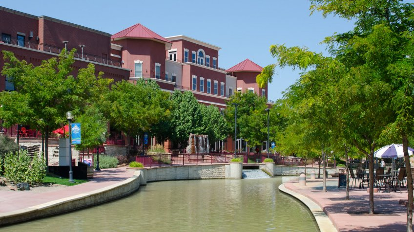 Pueblo, United States - August 18, 2013:  The Riverwalk has revitalized the downtown area of Pueblo, Colorado by creating retail shops and restaurants in a section of town that was once uninhabitable.