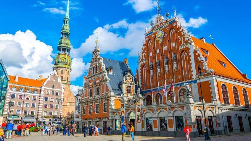 Ratslaukums Square in Riga Latvia