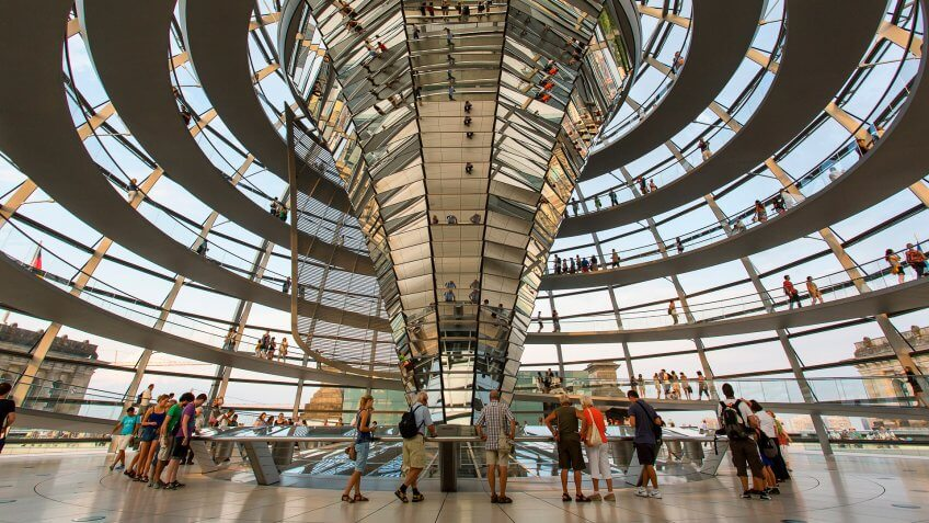 Reichstag Building by Norman Foster in Berlin Germany