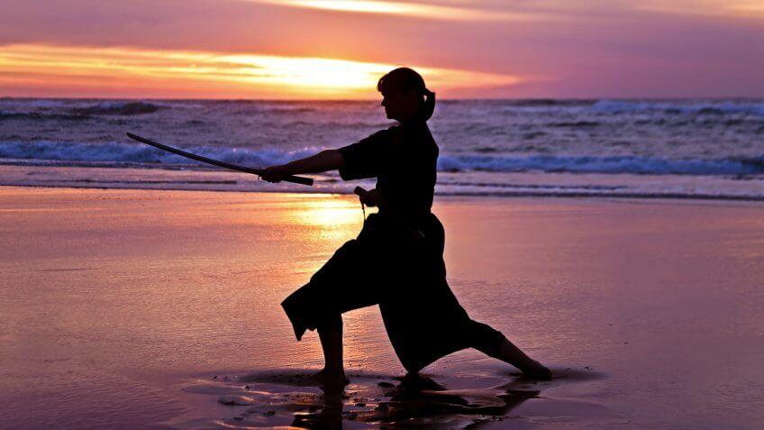 Samurai woman at the beach