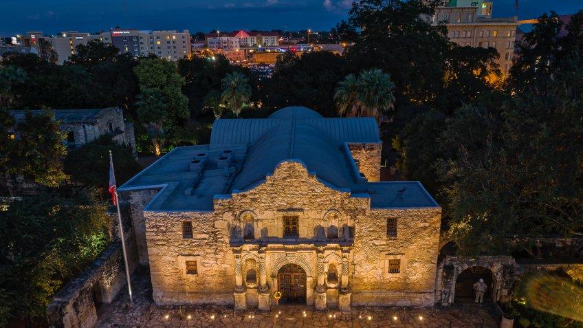 Aerial photo taken over The Alamo in San Antonio, Texas.
