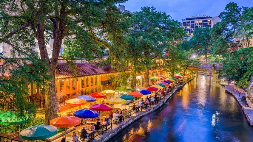 San Antonio, Texas, USA cityscape at the River Walk.