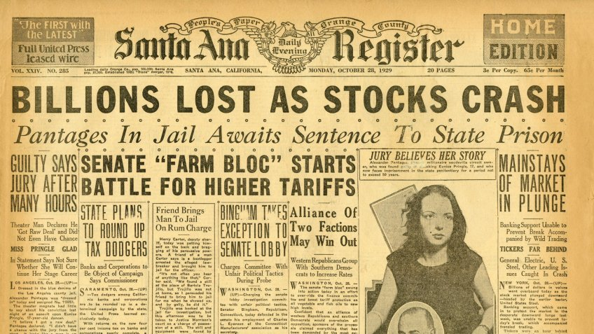 Santa Ana Register front page headline that reads BILLIONS LOST AS STOCKS CRASH