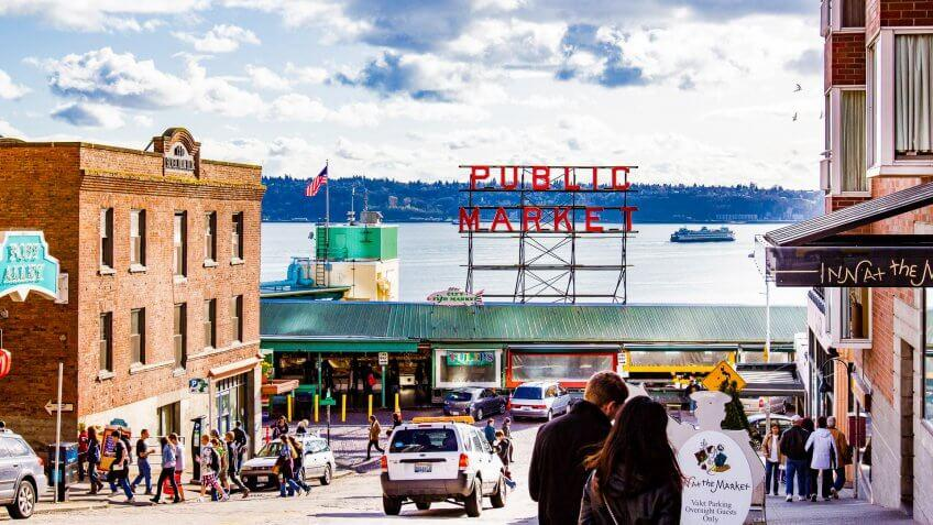 A street view of Pike Place Market in Seattle, WA.
