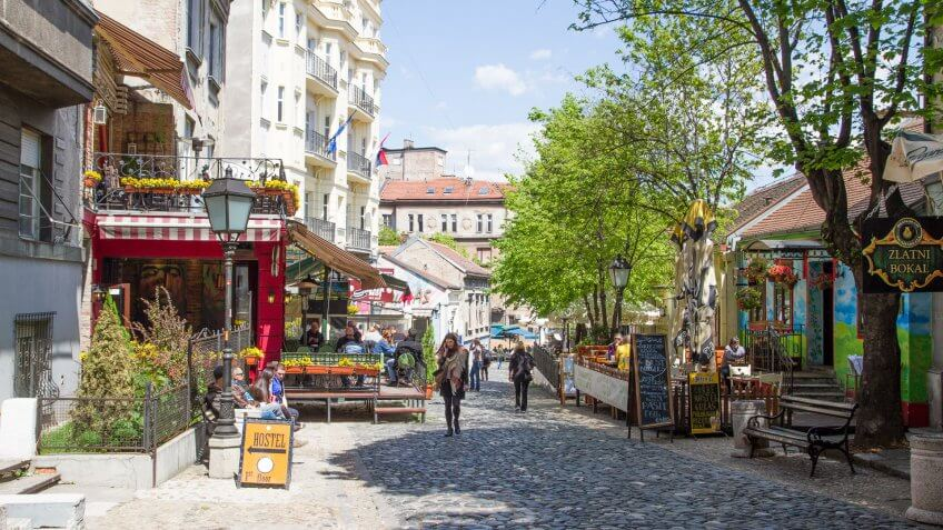 Skadarlija street in Belgrade Serbia