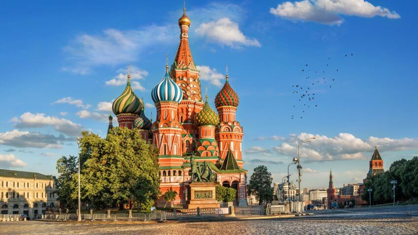 St Basil Cathedral on Red Square in Moscow Russia