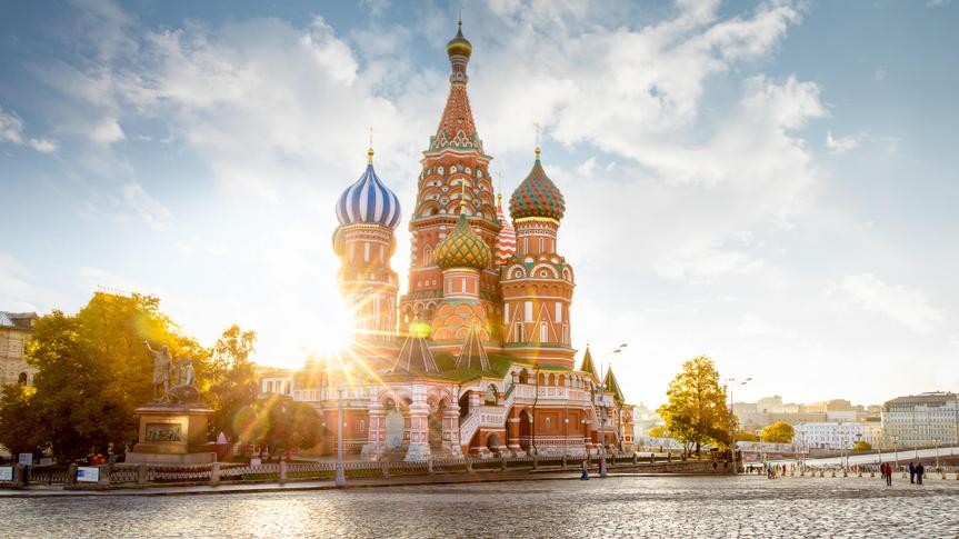 Saint Basil's Cathedral on Red Square in Moscow, Russia.