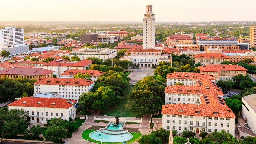 University of Texas Austin campus at sunset